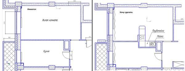 Объединить кухню с комнатой с газовой плитой в хрущевке - согласование перепланировки, что запрещено делать
